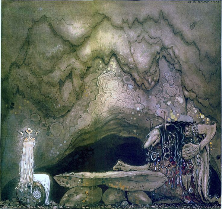 "John Bauer - Illustration for ""Pojken och trollen eller Äventyret"" (The boy and the trolls or The Adventure) by Walter Stenström in ""Bland tomtar och troll"" (Among gnomes and trolls), 1915."