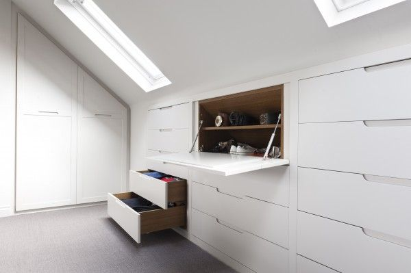 The eaves in a loft create a space that tapers away, not giving a lot of height even at the front. But by putting shelves and drawers into these spaces, can create a neat, streamlined look to a room, that also maximise the space that is available.