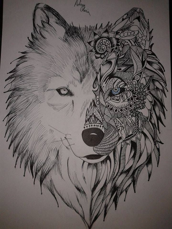When I saw the original drawing,I said :at least I should try...#wolf #doodle