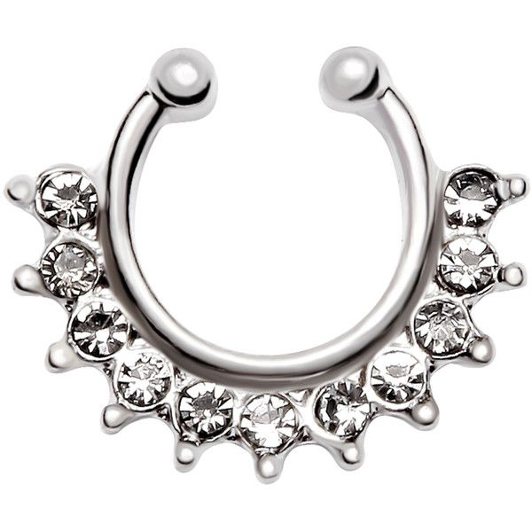 Silver Rhinestone Ball Nose Ring (33 NOK) ❤ liked on Polyvore featuring jewelry, silver, body jewellery, silver jewelry, rhinestone jewelry, silver body jewelry and party jewelry