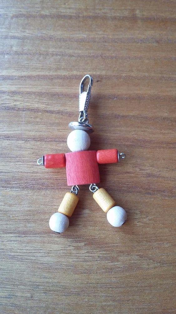 Aarikka Finland Vintage Wooden Doll Key Chain Zipper Decorations   #Aarikka