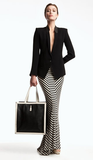 Helmut Lang black jacket, Torn black and white striped maxi skirt, YSL  black and white bag, nude YSL python print peep toe slingbacks.