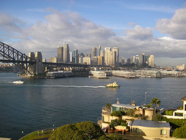 Sydney CBD from our room at Harbourside Apartments, McMahons Point.