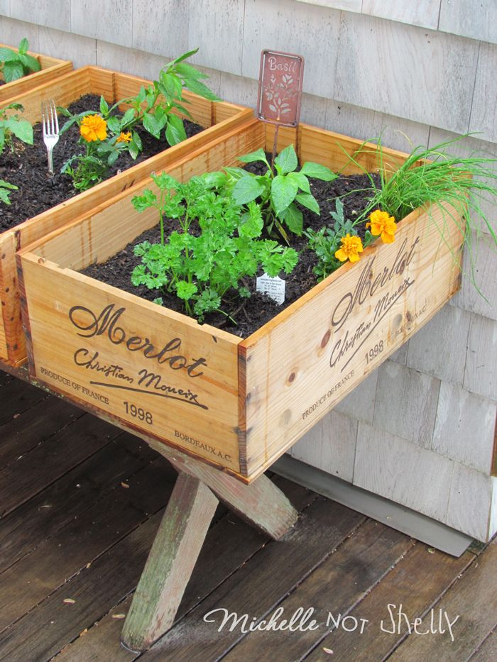 diy deck herb garden using wine boxes now if i can just find some of