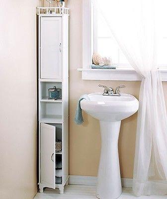 Tall-White-Storage-Cabinet-Shelves-Narrow-Bathroom-Kitchen-Armoire-Closet-Pantry