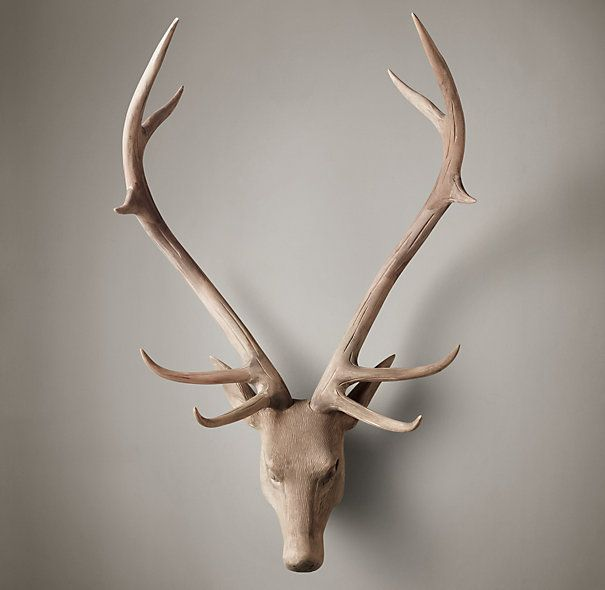 Hand carved wood stag head
