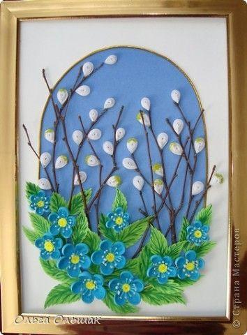 Картина панно рисунок 8 марта Квиллинг Весна пришла Бумага Бумага бархатная Материал природный Бумажные полосы фото 5