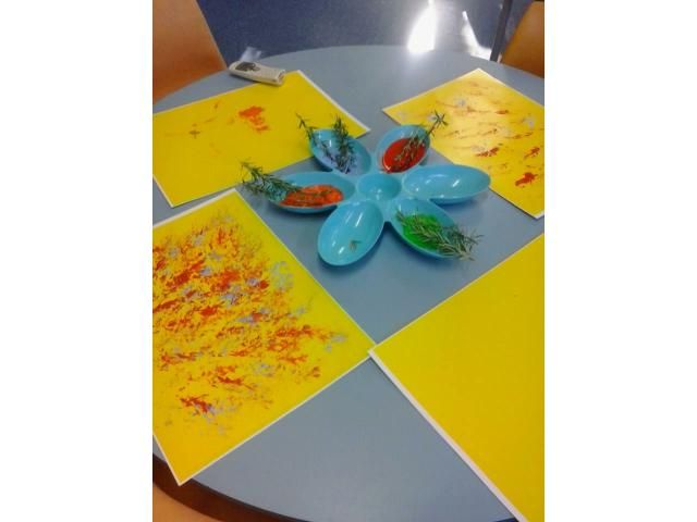 Rosemary Painting @ Linwood Playcentre. A nice calming fragrance  waifs into your senses. The children enjoy the texture the rosemary brush transfers onto their work