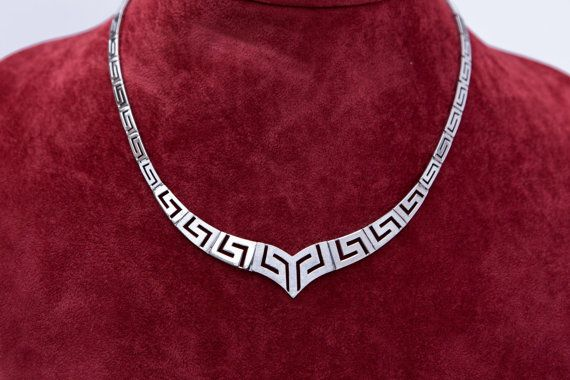 Ancient Greek Key Necklace 925 solid Sterling Silver by VAGjewelry