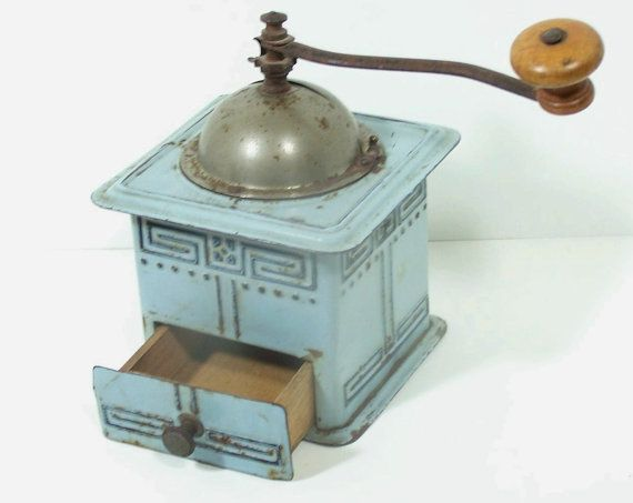 Antique Coffee Grinder /  Country Blue  / by JustWishfulThinking, $125.00