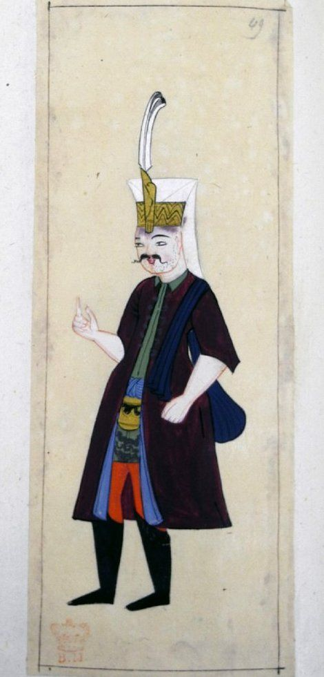 Yeniçeri aşçi. A cook of the Janissaries. Has the unshaven stubble on his chin seen on other servants, bare fore-arms and carrying a blue cloth bag over his shoulder. Green tunic. Maroon kaftan with blue lining and shirt sleeves. Plume in the plume-holder of his Janissary head-dress. High black boots.