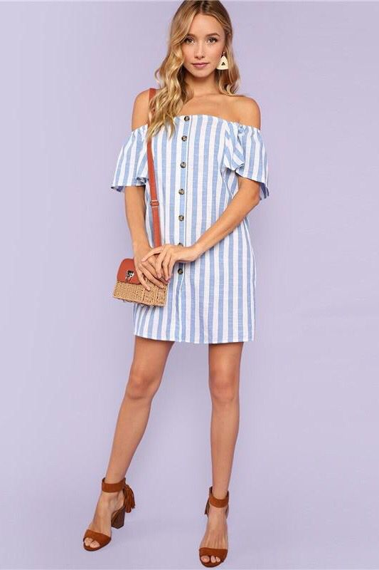 9878f243644 ... dress with a line of button ,short sleeves and boat neck for women this  summer. Elegant,fashion,simple,classic,chic and stylish. A small single  shoulder ...