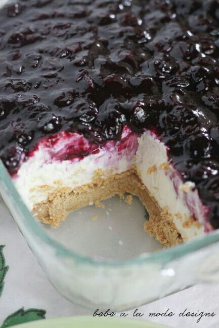 Blueberry Fluff / in 9x13 casserole dish mix 2 c flour, 1 & 1\2 sticks butter, 1 c chopped nuts (.perfered pecans or walnuts. ) press into dish for crust and bake  15- 20 minutes on 400 degrees. Remove let cool. Meanwhile mix 8 oz cream cheese, 2 c confectionery sugar and 1 lg cool whip. Pour into cooled crust. Top with 1-2 can blueberry pie filling. Depending on how much you love blueberrys. Refrigerate to set.  You can also use strawberry,  cherry etc.