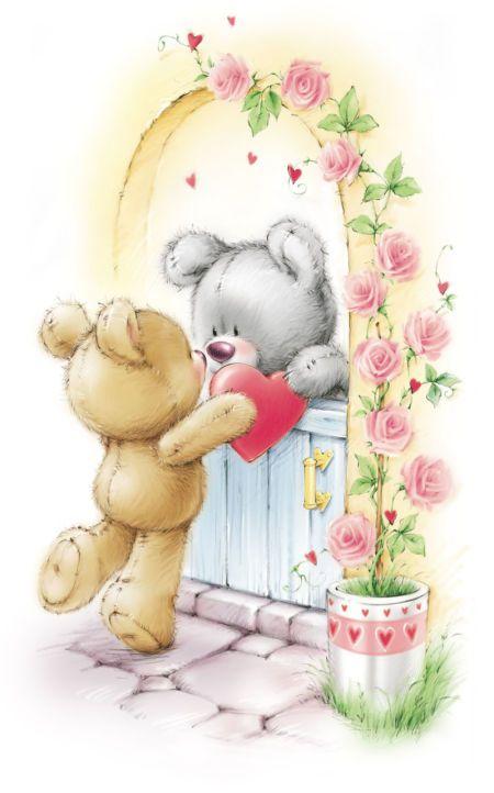 casal de ursos namorados coração