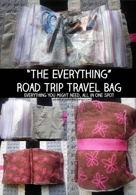The Everything Pouch for use on road trips, or just keep in the car at all times with all your little emergency needs in it. Band-aids, ibuprofen, hand sanitizer, chapstick, stain pen, pen, small screwdriver, etc.