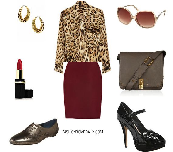 leopard blouse, burgundy skirt, pewter shoes and purse