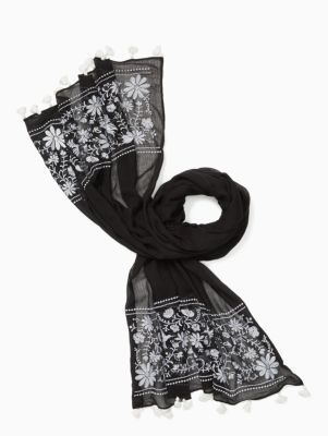 otomi embroidery oblong scarf   Kate Spade New York
