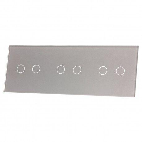 70222-64 Sześciokrotny srebrny panel szklany LIVOLO
