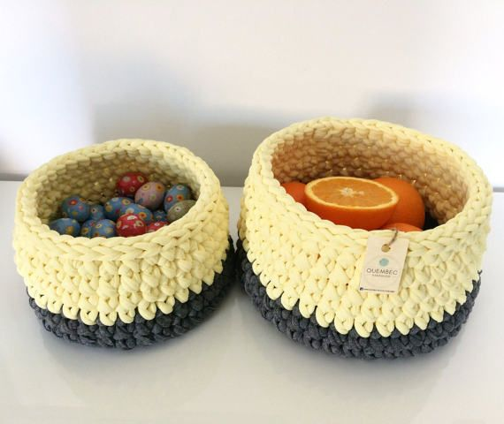 Set of 2 crochet baskets in two different sizes:  Big: 19x12 cm Medium: 16x10 cm   Color: yellow and dark grey   Material: cotton and lycra t-shirt yarn | trapillo | upcycled t-shirt yarn  Perfect as containers for cosmetics, fruits, toys or just as a home decor element.  Can be used in any room in your home: kitchen, bathroom, bedroom, living room or kids room.  Great gift idea