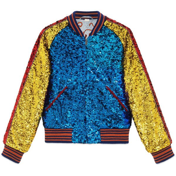 Gucci Sequin Bomber Jacket ($5,205) ❤ liked on Polyvore featuring men's fashion, men's clothing, men's outerwear, men's jackets, jackets, outerwear, men, outerwear & leather jackets, ready-to-wear and mens quilted leather jacket