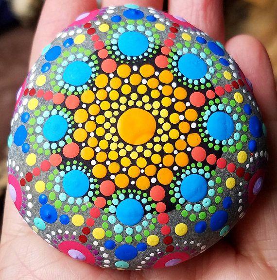 Items similar to Colorful Mandala Stones Hand Painted Decor by Miranda Pitrone/ painted stones / rock art / dot art / Beach stone / boho on Etsy