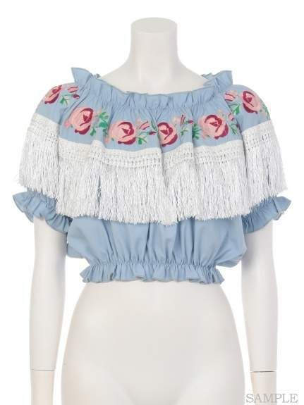 56ef56a109a04 Swankiss Rose Embroidered Fringe Top