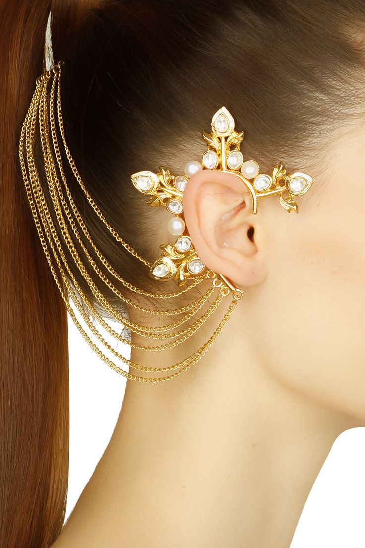 ROHITA AND DEEPA Gold finish kundan studded arrow pop earcuff with attached chain haircomb available only at Pernia's Pop Up Shop.