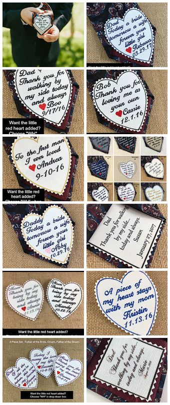 UNIQUE KEEPSAKE GIFTS for the father of the bride, father of the groom, the groom, mother of the bride, mother of the groom, etc!  Wedding tie patches - choose sayings, colors, iron-on or sew-on! #weddingaccessories