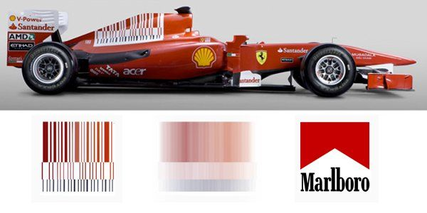 1. The F1 Marlboro Barcode: Following the banning of tobacco advertising at many country's F1 racing events, Marlboro decided to get creative with their sponsorship of Ferrari. For a time, the Ferrari F1 car prominently featured what appeared to be a red, black and white barcode. However, when zooming around the track, the 'barcode' blurred, becoming very suggestive of the famous Marlboro logo.     www.eklectica.in