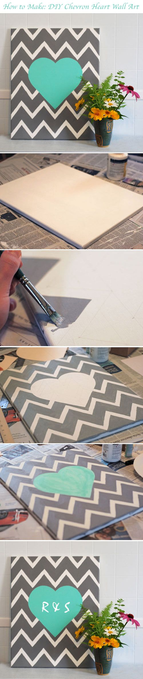 DIY Chevron Heart Wall Art - find the tutorial here!  http://www.weddingwindow.com/blog/2012/07/23/diy-chevron-heart-wall-hanging/
