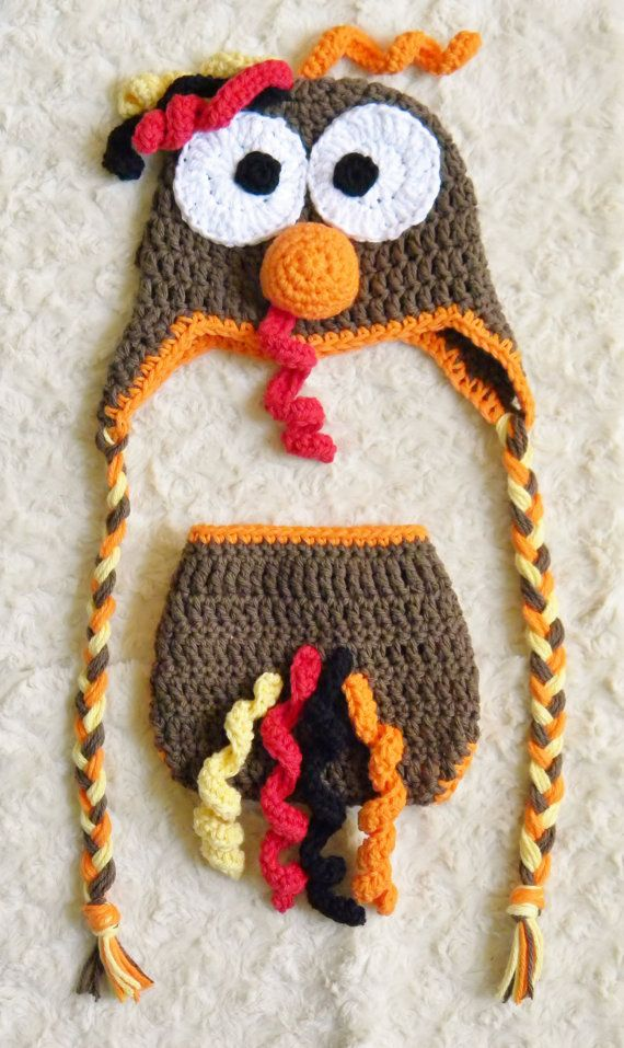 Baby Turkey Hat & Diaper Cover Set  Crochet Boy by OhSoVeryKnotty, $35.00