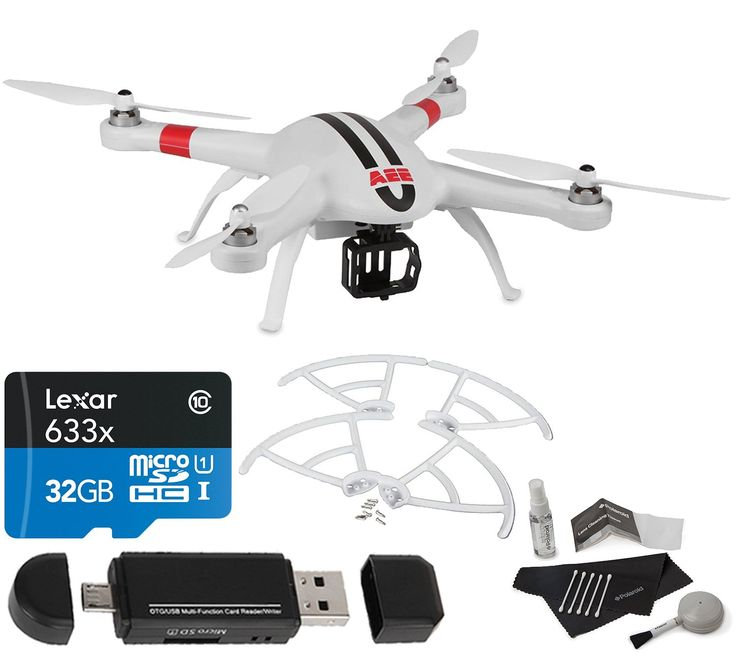 AEE Technology AP9 GPS Drone Quadcopter Aircraft System for AEE S-Series and GoPro Action Cameras (White), Propeller Guards, Lexar 32GB, Polaroid Cleaning Kit, Card Reader and Accessory Bundle. AEE Technology AP9 GPS Drone Quadcopter With all Manufacturer-supplied Accessories + Full USA Warranties CALUMET CAMERA KIT INCLUDING:. AEE Technology AH01 Propeller Guard Set. Lexar 32GB 633x Micro SD Card. Poarloid 5 Piece Cleaning Kit. Card Reader / Writer.