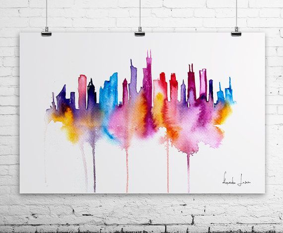 Chicago City Art Print - Original Watercolor Painting--- I should try this with New York