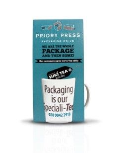 "Our creative company mugs! ""Packaging is our speciali - Tea"" Printed sleeves allow you to carry one home after your visit."