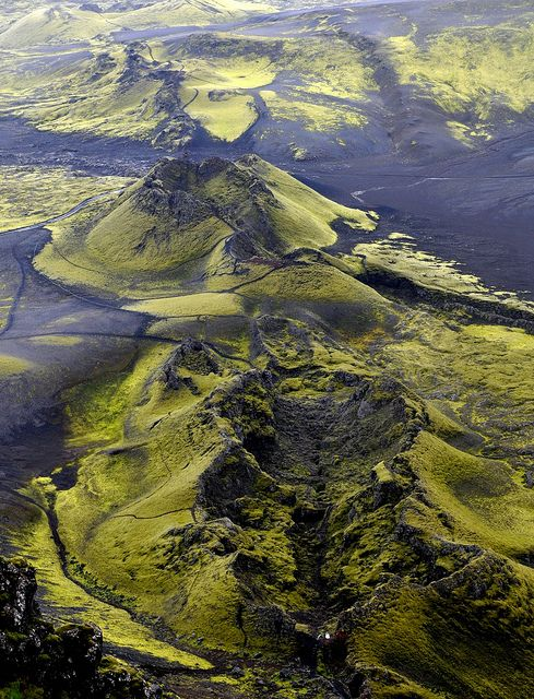 Aerial view of Lakagígar (Craters of Laki), a volcanic fissure in the south of Iceland.