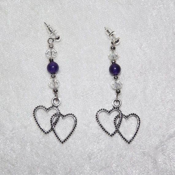 Earrings  Amethyst Double Heart  Free UK Post by KasumiCrafts