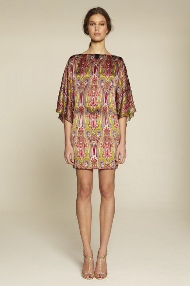 Collette Dinnigan Paisley Gardens Satin Georgette Raglan Sleeve Short Dress
