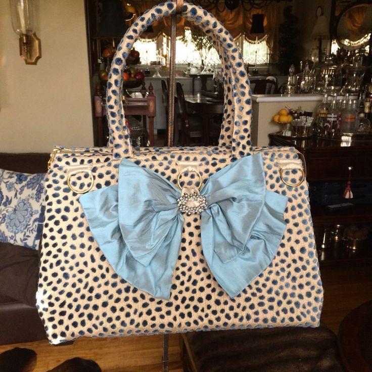 Bleu leopard carpet bag ,silk bow from Delightful CreTion