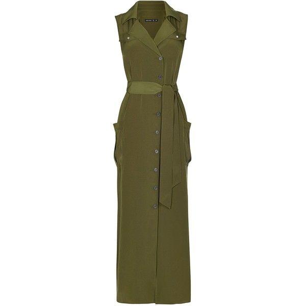 Karen Millen Satin Khaki Shirt Dress ($230) ❤ liked on Polyvore featuring dresses, women dresses, satin shirt dress, khaki shirt dress, button shirt dress, long summer dresses and long dresses