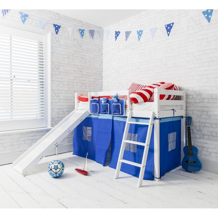Oskar Midsleeper Shorty Cabin Bed in Blue with Slide
