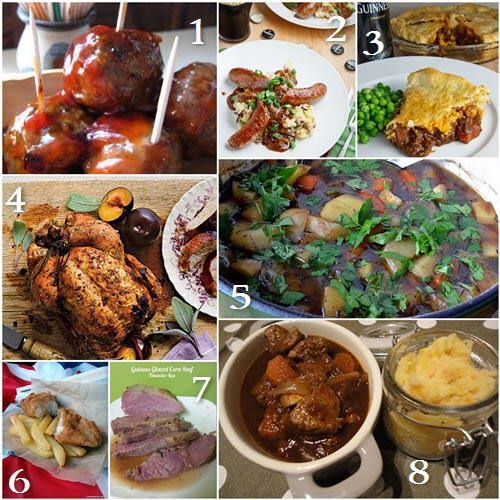 8 Saint Patrick's Day dinner recipes: Bourbon Whiskey Meatballs, Bangers and Colcannon with Guinness Onion Gravy, Steak and Guinness Pie,Dry Brined Beer Can Chicken,  Irish Stew, British Beer Battered Fish and Chips, Guinness Glazed Corned Beef Recipe,  Beef & Guinness Casserole