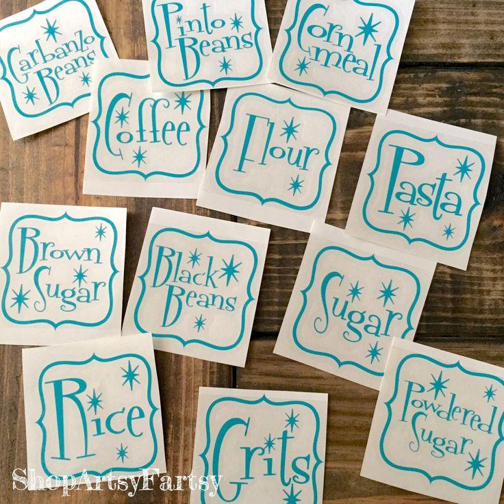 Kitchen Labels Vintage Diner Font canister vinyl labels by ShopArtsyFartsy on Etsy https://www.etsy.com/listing/239801354/kitchen-labels-vintage-diner-font