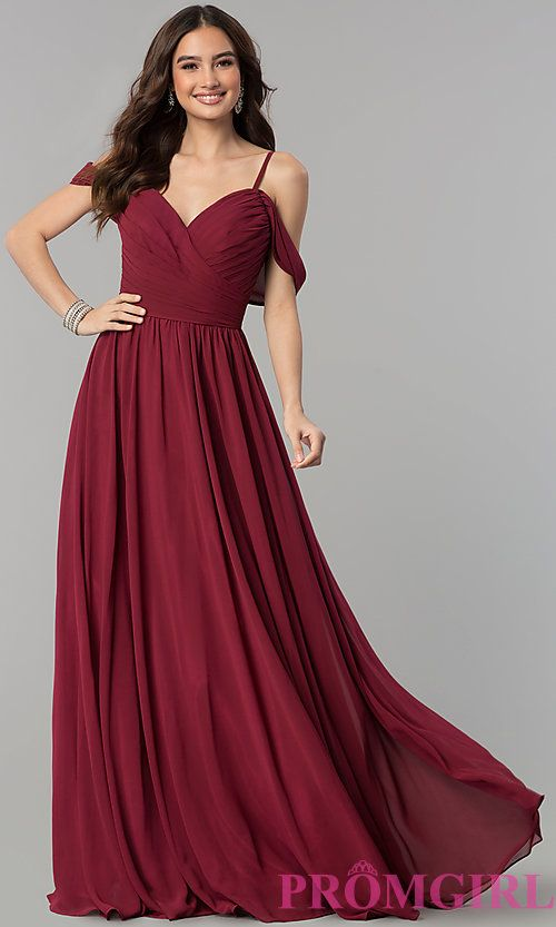 2a9b9475f857 Image of long chiffon cold-shoulder ruched-bodice prom dress. Style: JT-676  Front Image