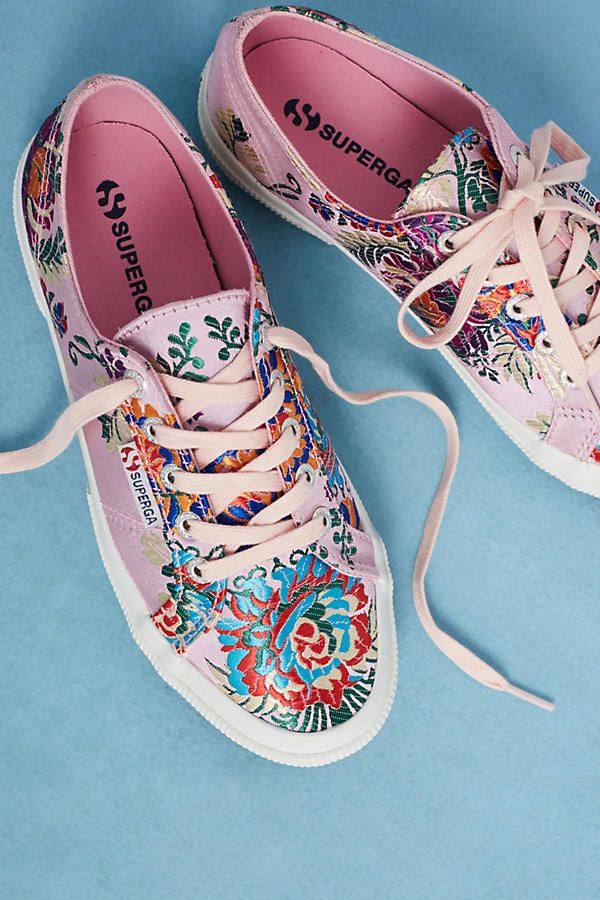 Slide View: 1: Superga Embroidered Satin Sneakers