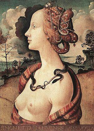 1490 Piero di Cosimo, Simonetta Vespucci. Her high, shaved forehead was fashionable at the time