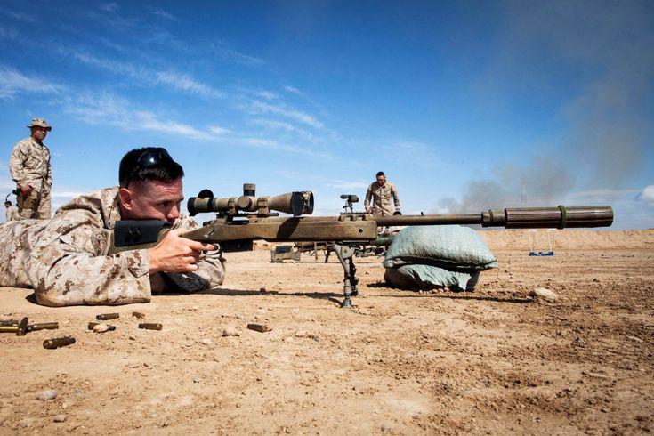 A Marine trains with an M40A5 Sniper Rifle.
