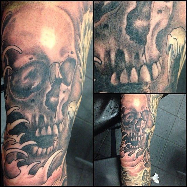 Skull Tattoo by Zak Khanat at LDF Tattoo Marrickville, Sydney, NSW. #tattoo #sydneytattoo #skulltattoo #ldftattoo
