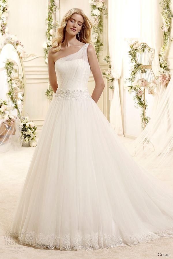 colet bridal 2015 style 73 coab15219iv one shoulder a line wedding dress with draped bodice