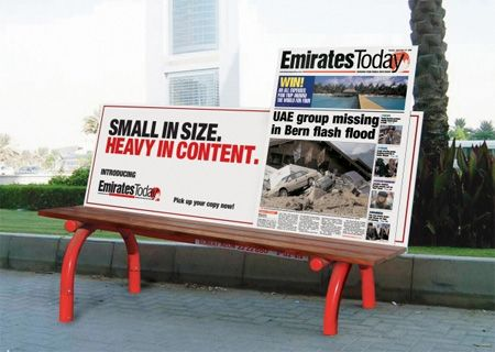 emirates today small in size heavy in content from 30 clever examples of park bench advertising campaigns