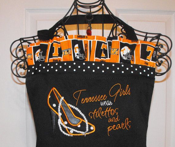 I've got to have this!! Love it!    Tennessee Girls and Pearls Apron by sewsusandesigns on Etsy, $36.00